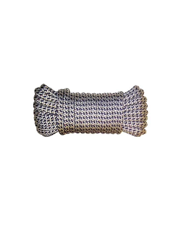 Aanleglijn Dubbel gevlochten polyester 12 mm. * 12 mtr. Zwart/Wit