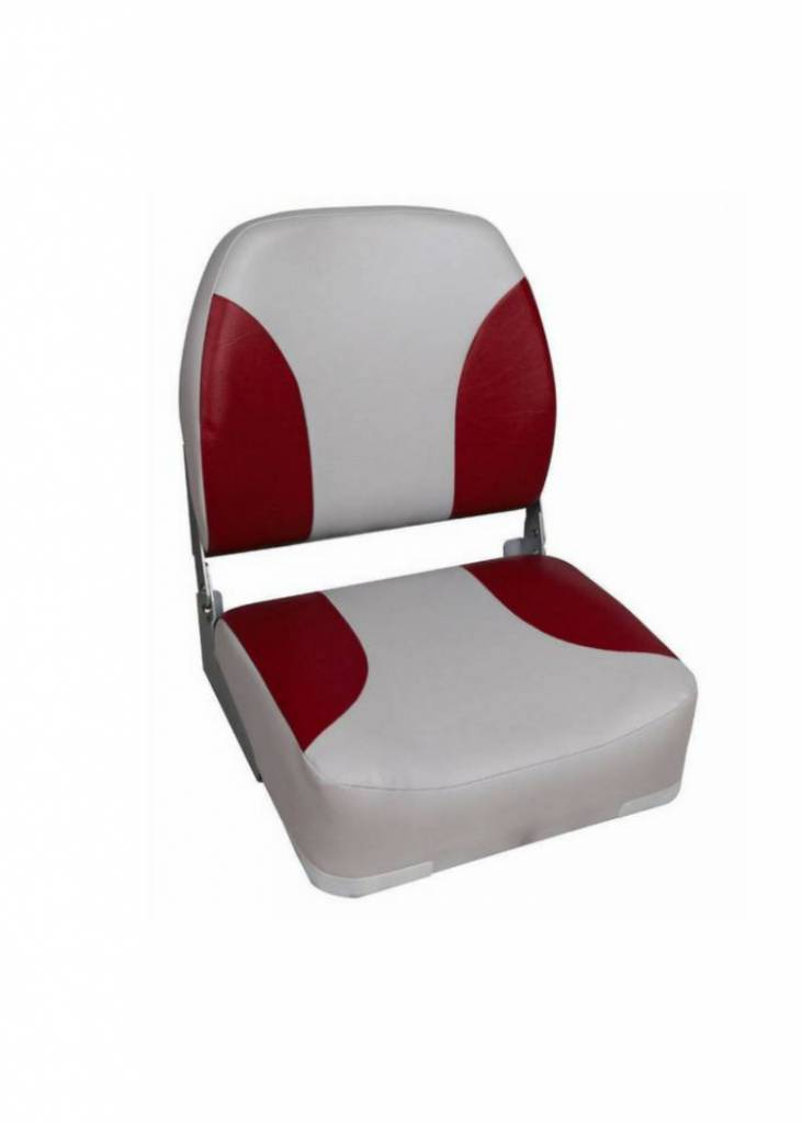 Titan Marine Deluxe Folding Seat - Grey/Red