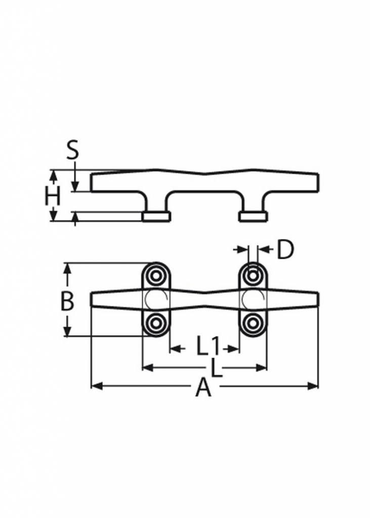 Titan Marine Hollow Klampe - AISI316 - 150 mm