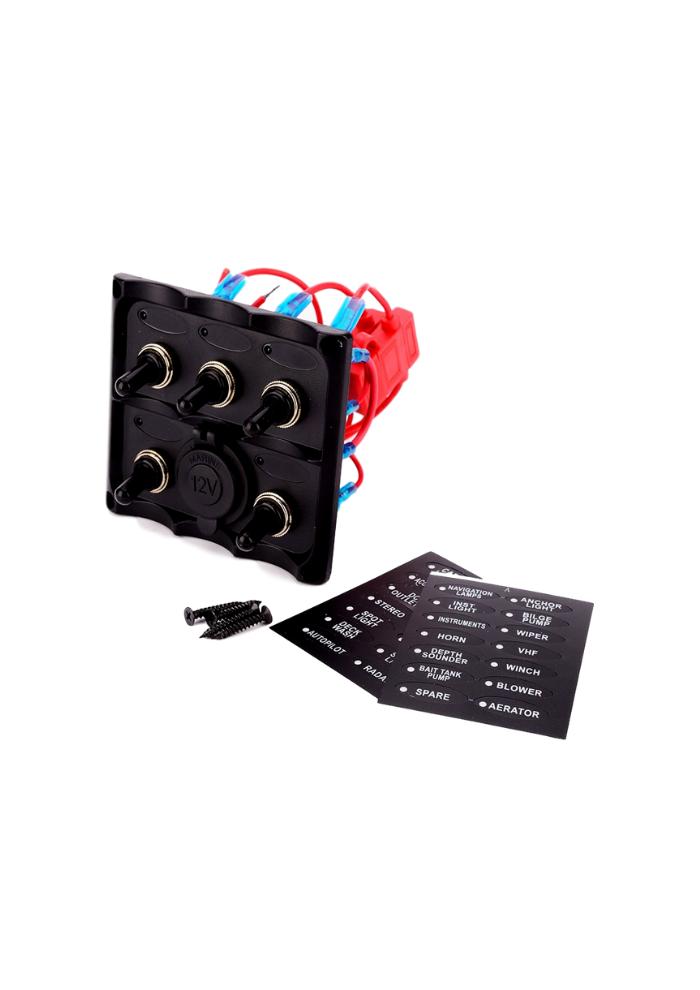 Easterner Schakelpaneel 5 schakelaars en 12V stopcontact