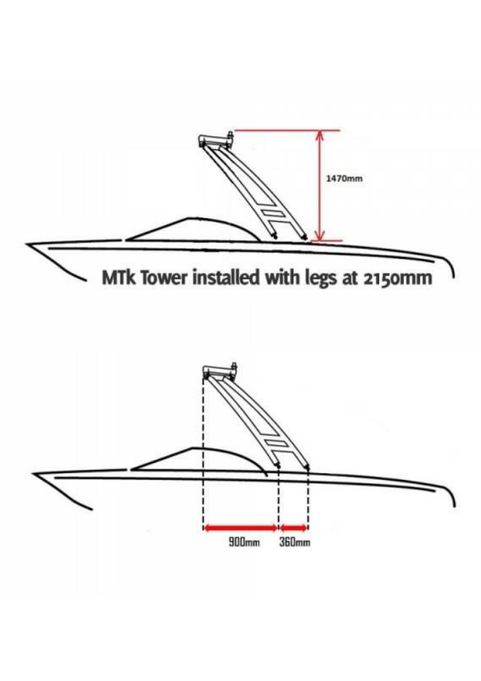 Monster Tower MTK XL Polished and Anodized Forward Facing Wakeboard Tower w/Nav Light