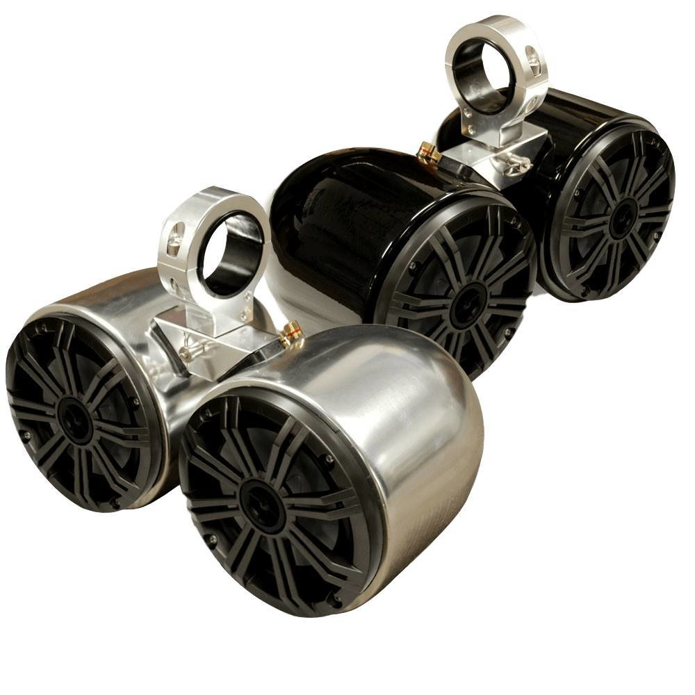 Monster Tower Kicker Double Barrel Polished and Anodized Speaker- One Pair- Uni.