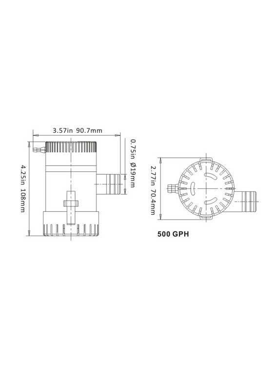 Sea Flo Sea Flo Lenspomp 500 GPH - 12v