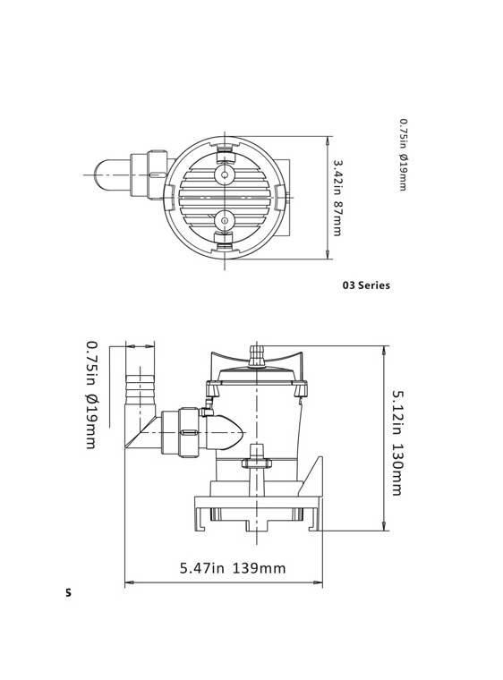 Sea Flo Sea Flo Lenspomp 600 GPH - 12v