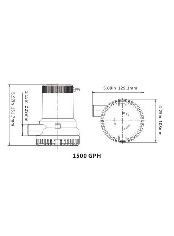 Sea Flo Sea Flo Lenspomp 1500 GPH - 12V
