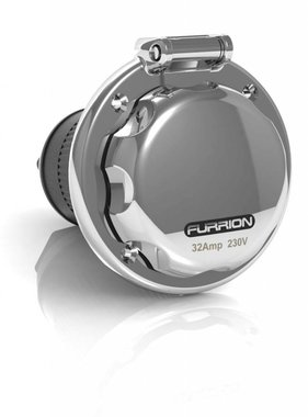 Furrion Round inlet, 32 amp, stainless steel