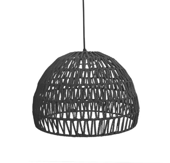 Hanglamp Rope - Zwart - Stof - M