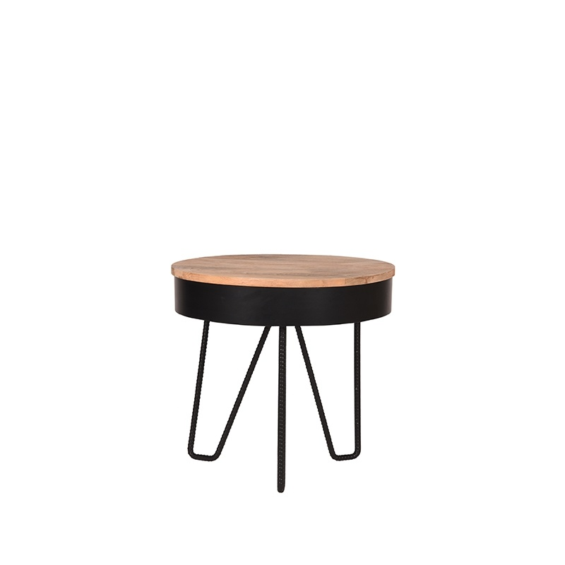 Bijzettafel Saran - Zwart - Metaal - Rond - 44 cm