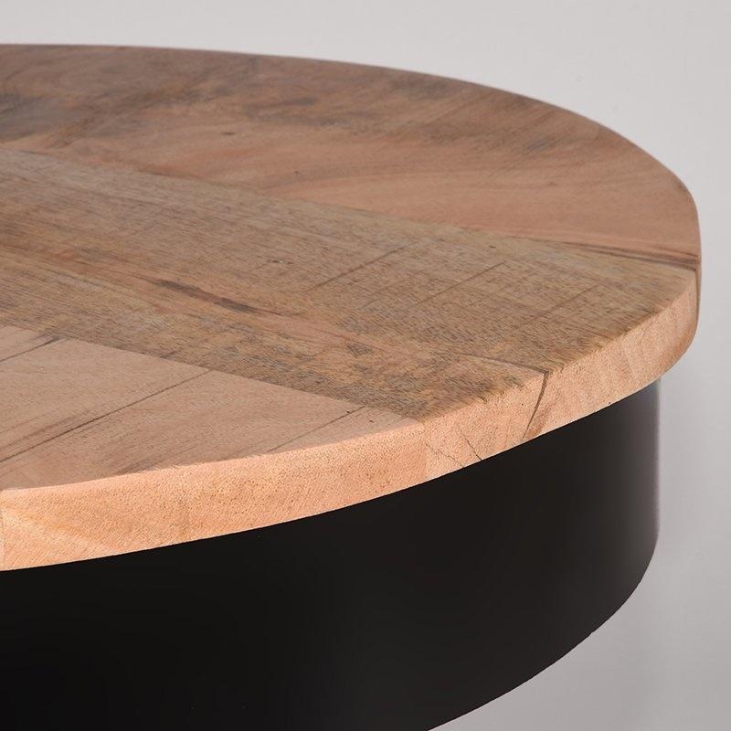 Bijzettafel Saria - Zwart - Mangohout - Rond - 44 cm