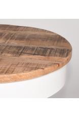 Bijzettafel Saria - Wit - Mangohout - Rond - 44 cm