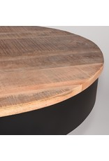 Salontafel Saria - Zwart - Mangohout - Rond - 80 cm