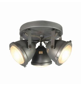 Spot Moto led - Burned Steel - Metaal - 3 Lichts