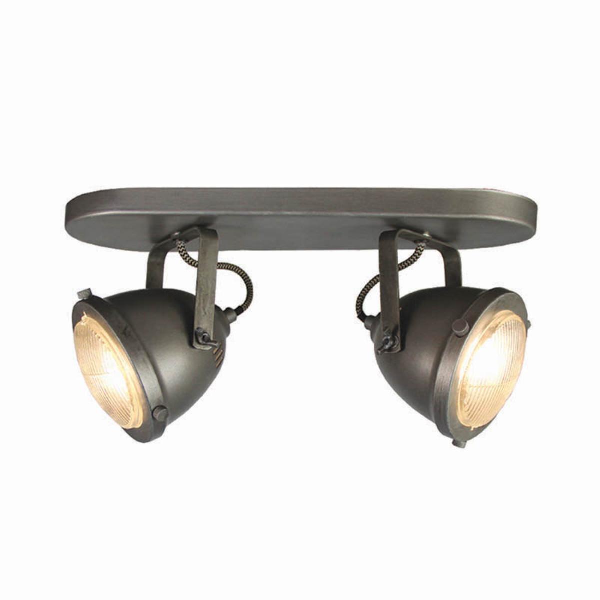 Spot Moto led - Burned Steel - Metaal - 2 Lichts