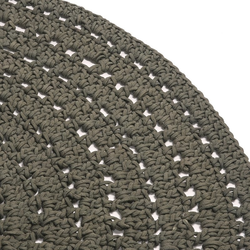 Vloerkleed Knitted - Army green - Katoen - 150x150 cm