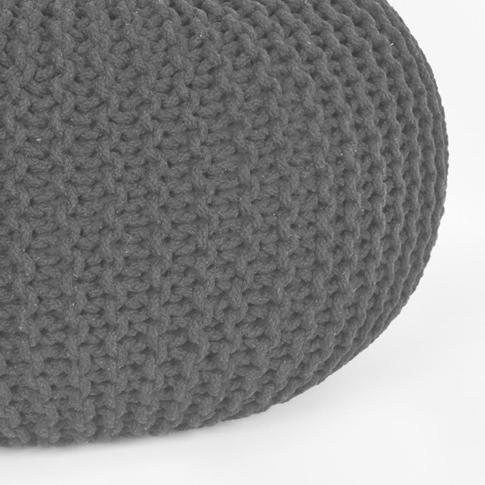 Poef Knitted - Zwart - Katoen - L