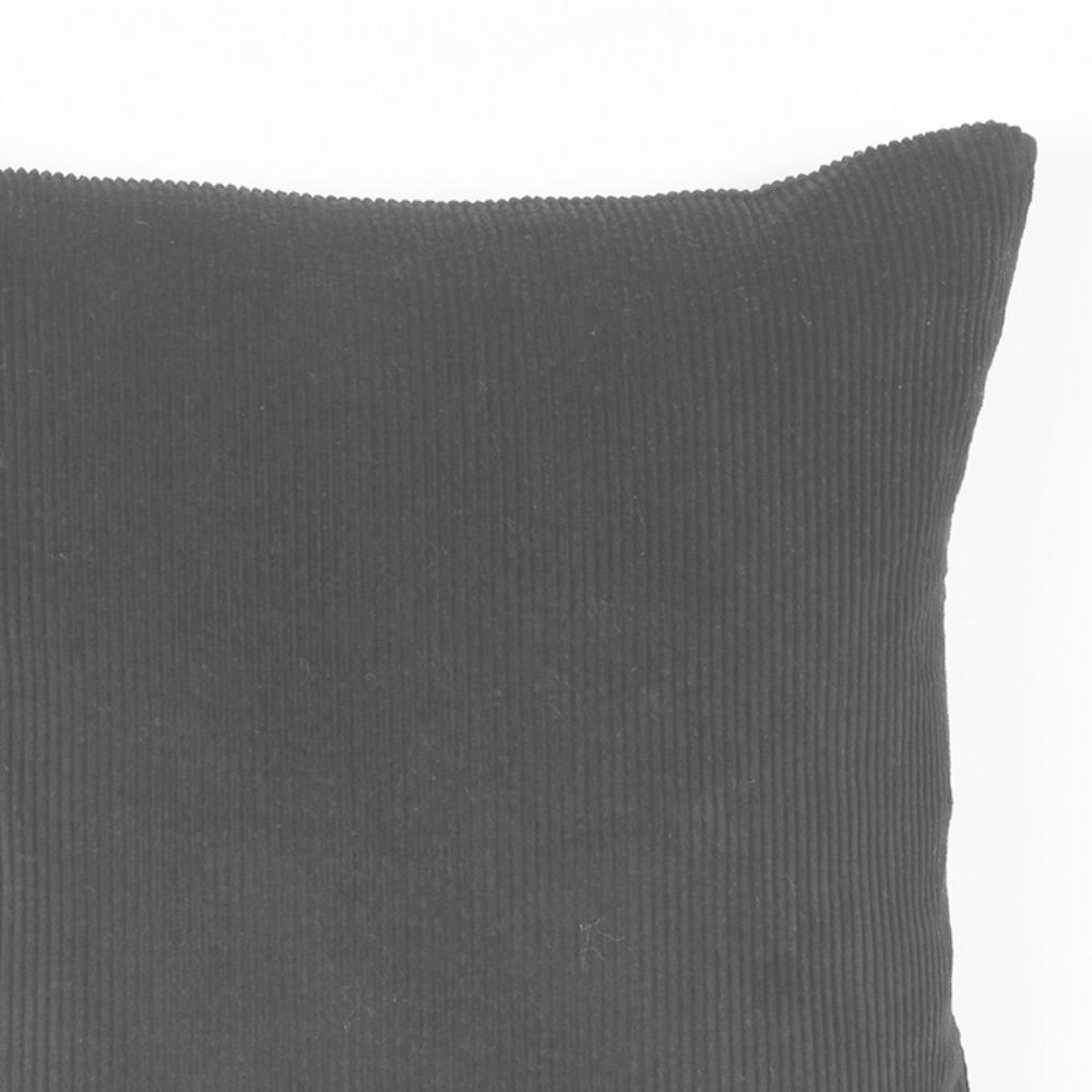 Kussen Rib 45x45 Cm - Zwart - Katoen