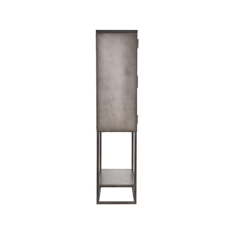Vitrinekast Level - Grijs - Metaal - 70x35x150 cm