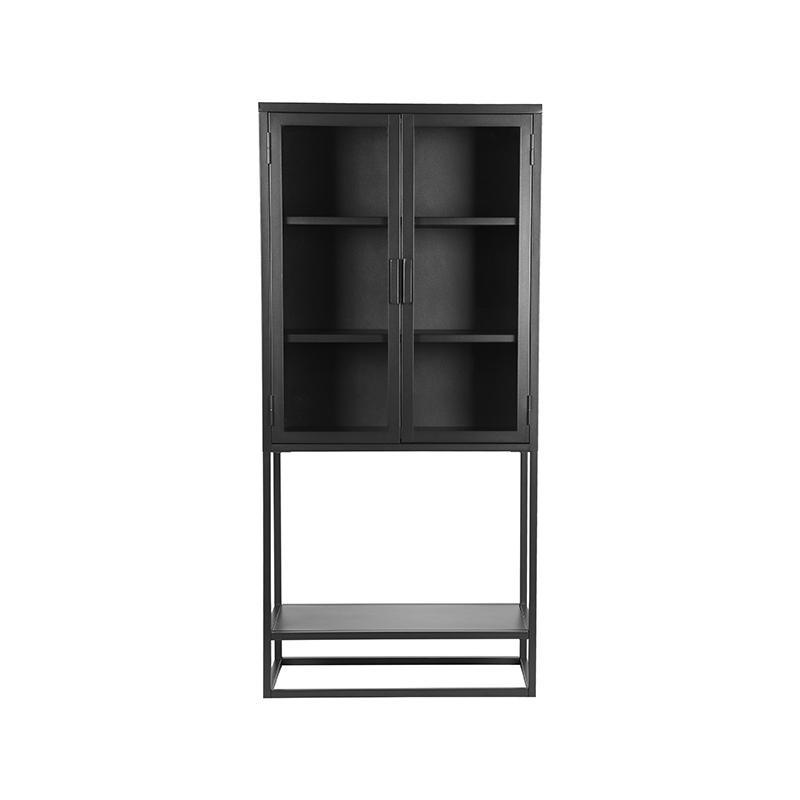 Vitrinekast Level - Zwart - Metaal - 70x35x150 cm