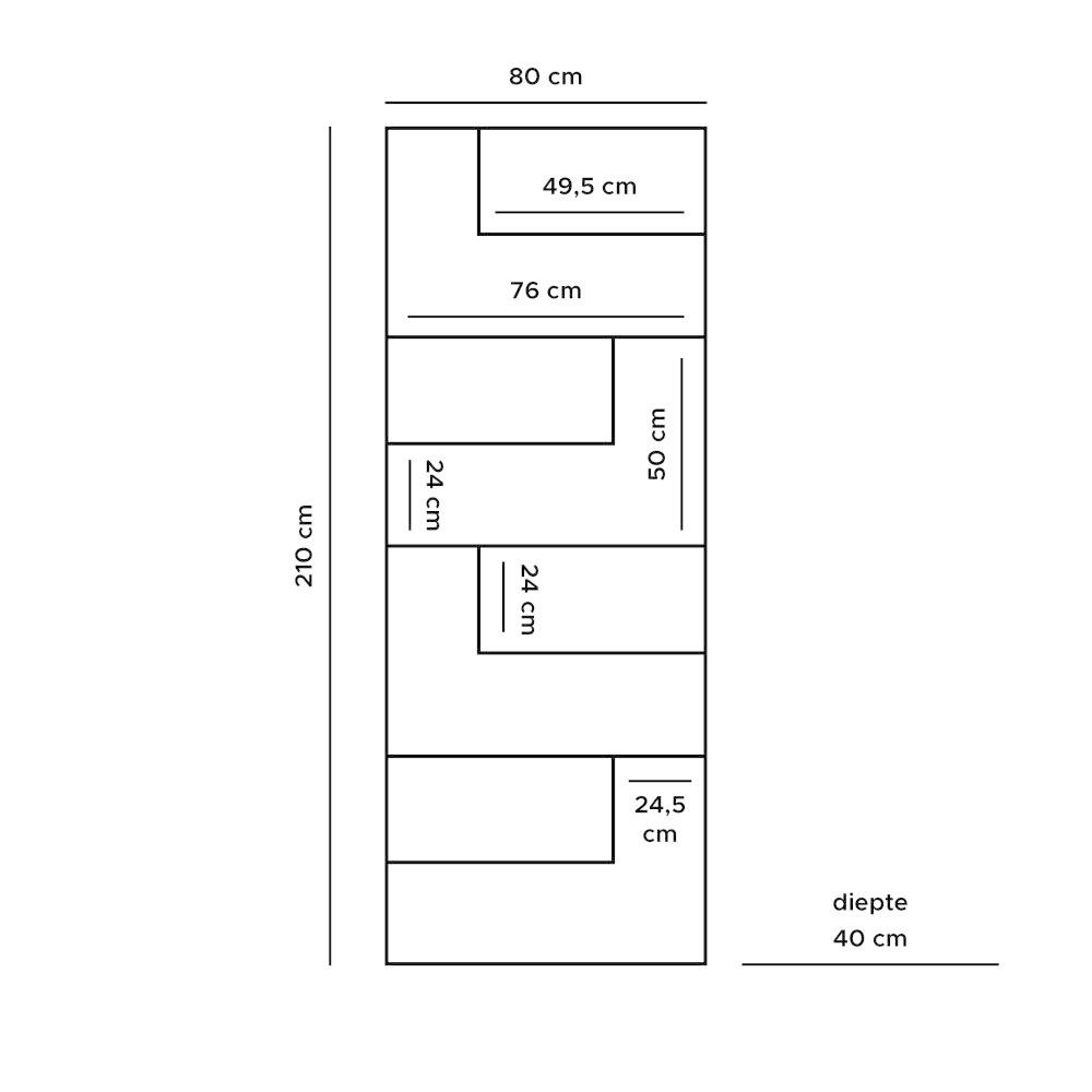 Vakkenkast Huub Hout - 210 x 80 cm  - Roomdivider
