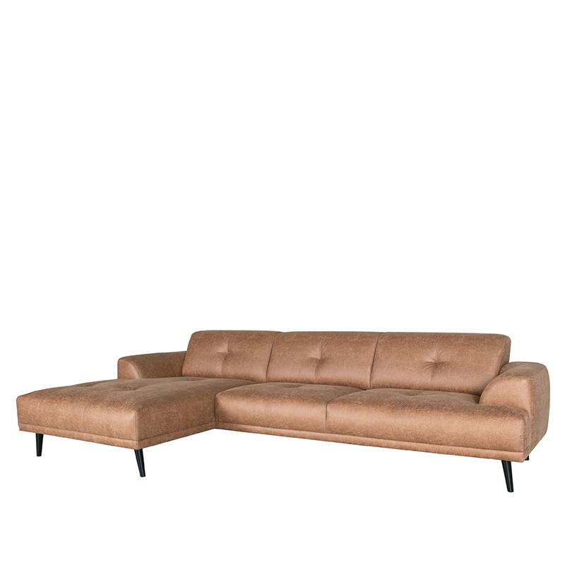 Bank Salerno - Cognac - Microfiber - Chaise Longue + 2,5-Zits