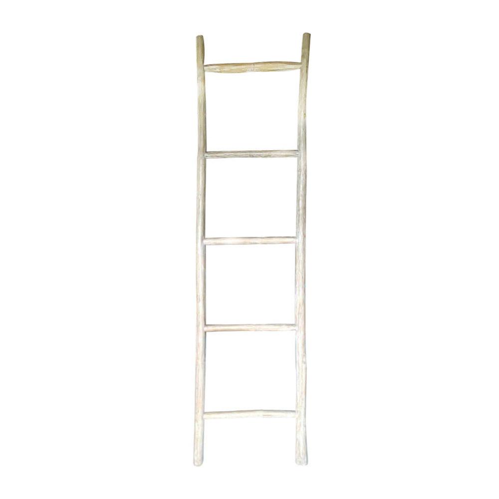Decoratie ladder hout wit Zuko XL