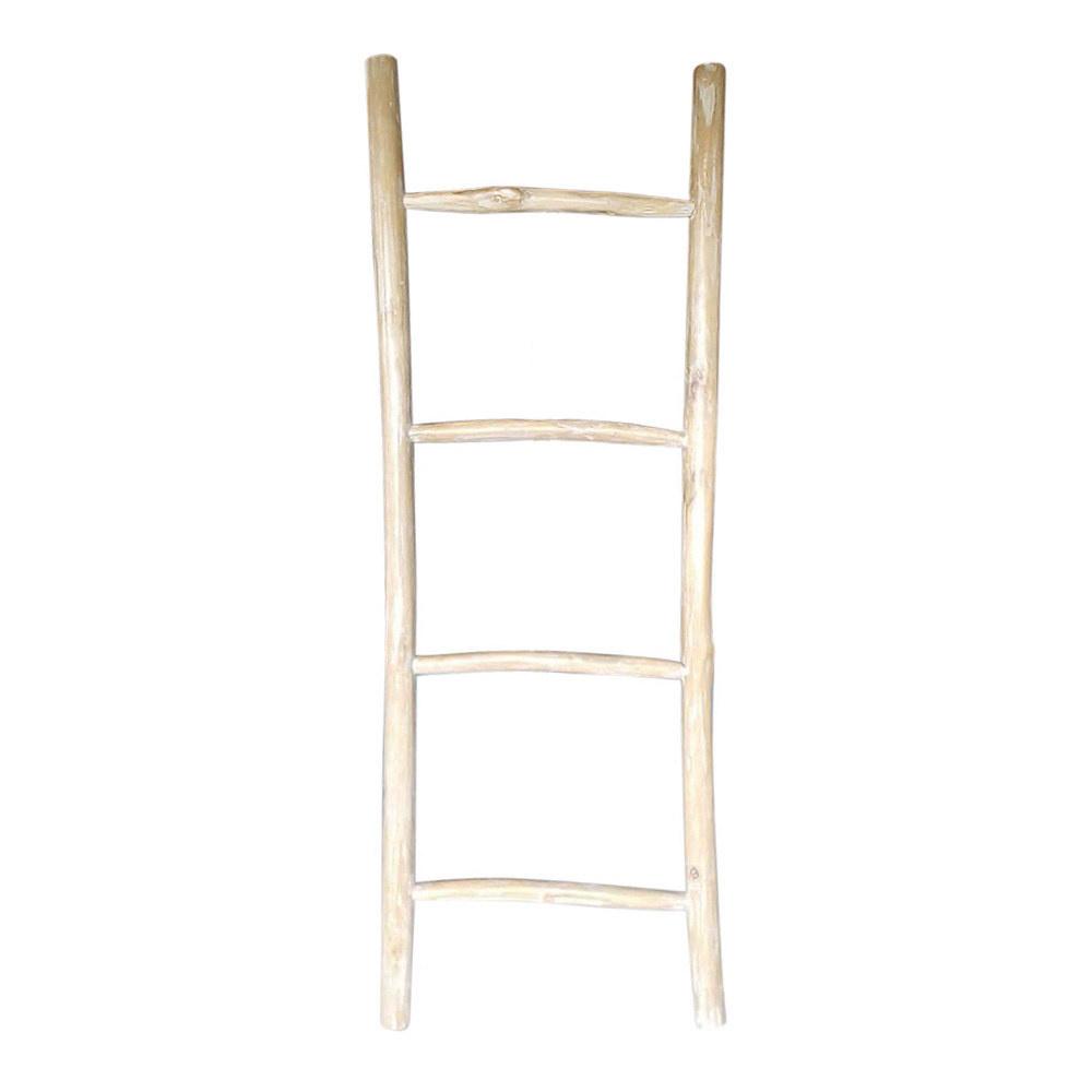 Decoratie ladder hout wit Zuko L