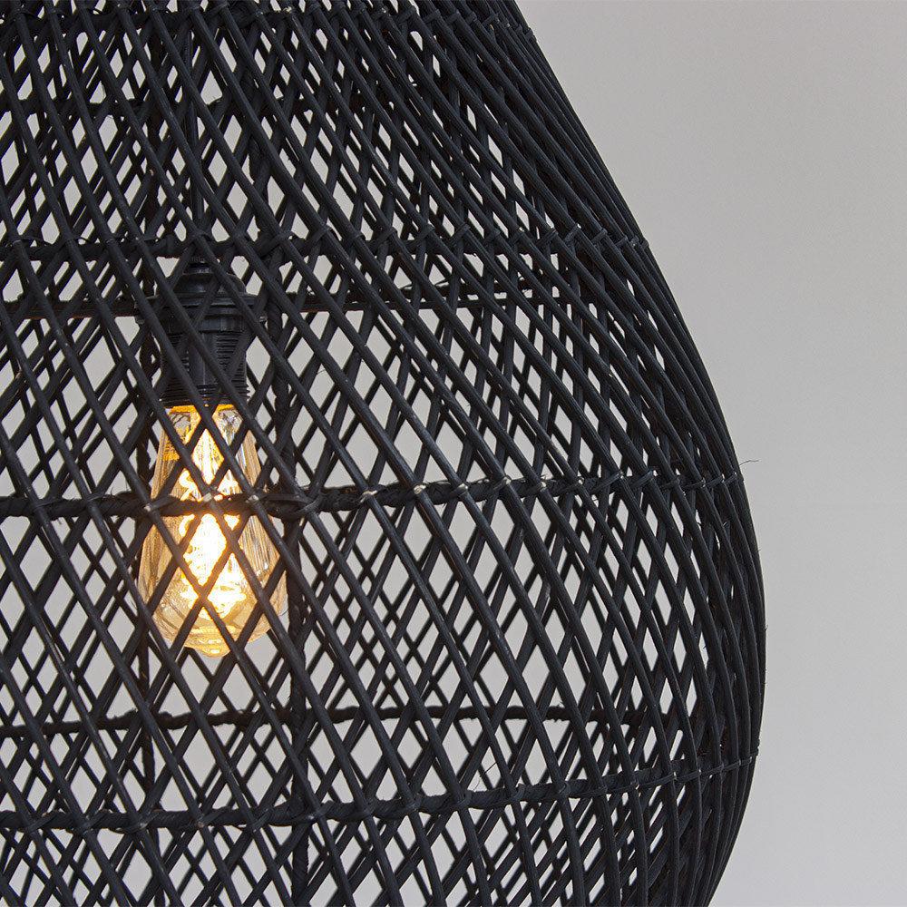 Lamp zwart rotan Druppel L