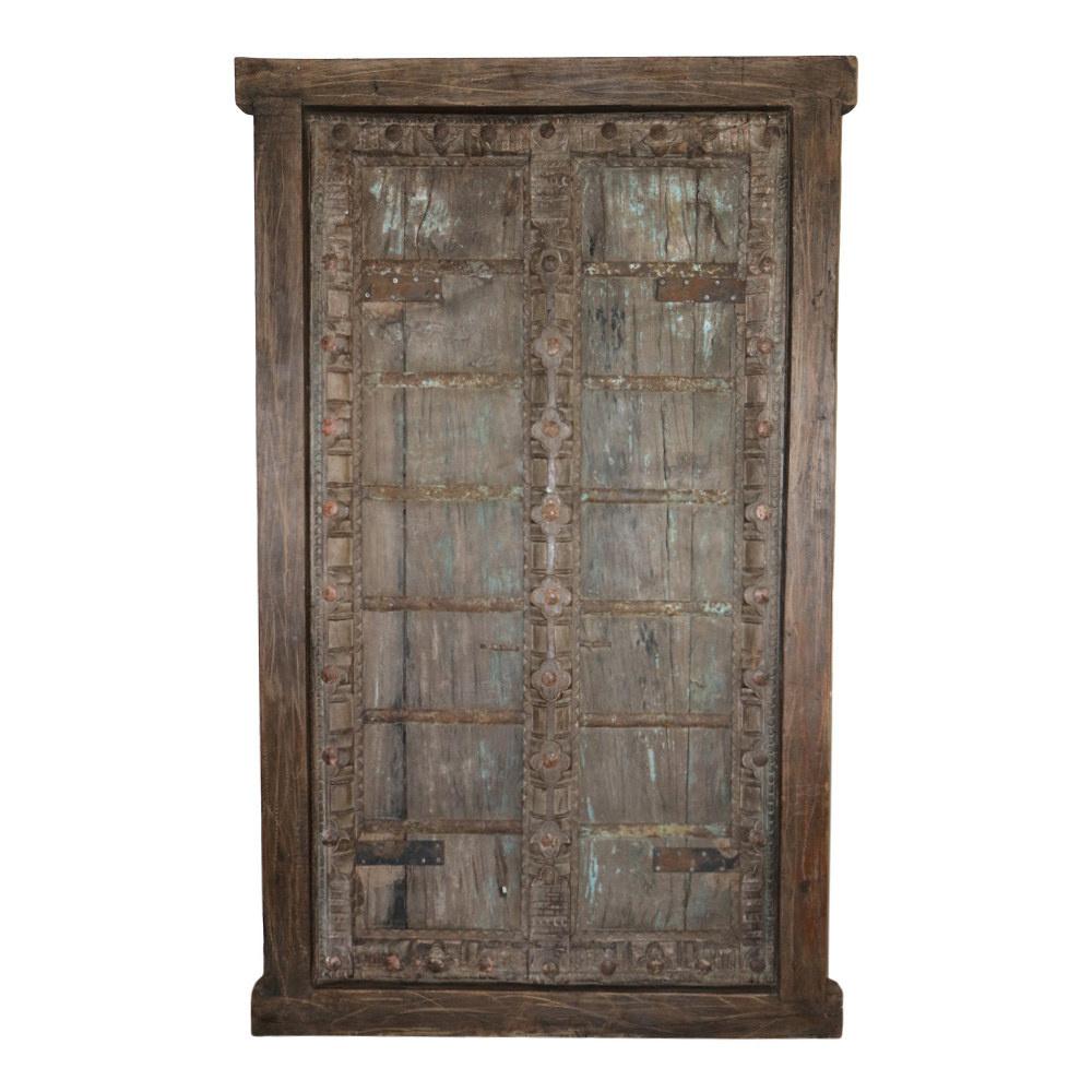 Deur vintage hout india houtsnijwerk metaal