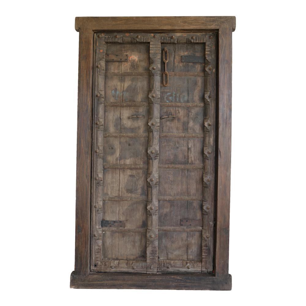 Deur vintage hout India bruin