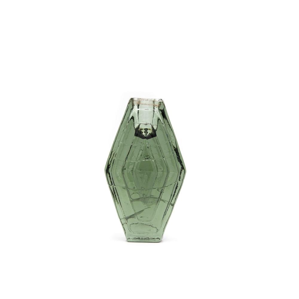 Candle holder infinite hexagon smokey green