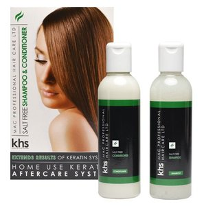 KHS Keratin Hair System Salt Free Shampoo & Conditioner 2 x 200ml Kit