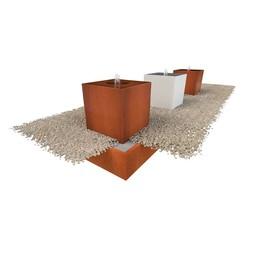 Waterblok cortenstaal 70 x 70 x 70 cm