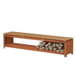 Burni houtopslag 200 x 40 x 43 cm CorTenstaal