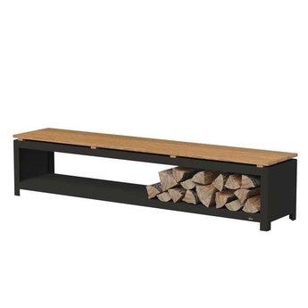 Burni houtopslag 200 x 40 x 43 cm Zwart