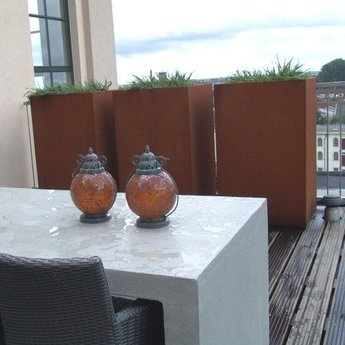 Andes cortenstaal met poten 120x120x60 cm