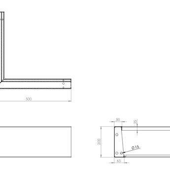 Keerwand cortenstaal 50 x 50 x 20 cm buitenhoek