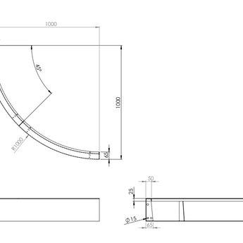 Keerwand cortenstaal 100 x 20 cm buitenbocht
