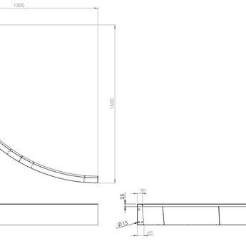 Keerwand cortenstaal 150 x 20 cm buitenbocht