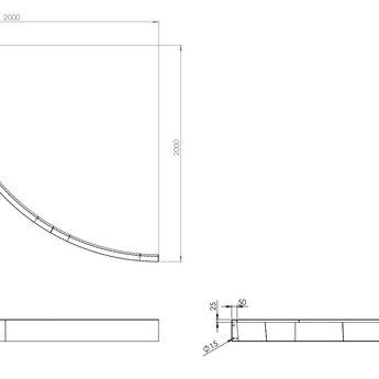Keerwand cortenstaal 200 x 20 cm buitenbocht