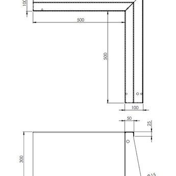 Keerwand cortenstaal 50 x 50 x 30 cm binnenhoek