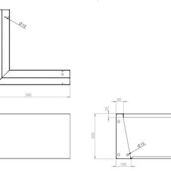 Keerwand cortenstaal 50 x 50 x 30 cm buitenhoek