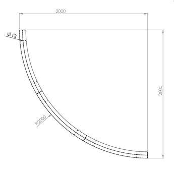 Keerwand cortenstaal 200 x 30 cm buitenbocht