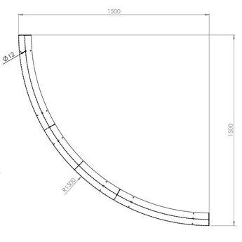 Keerwand cortenstaal 150 x 30 cm buitenbocht