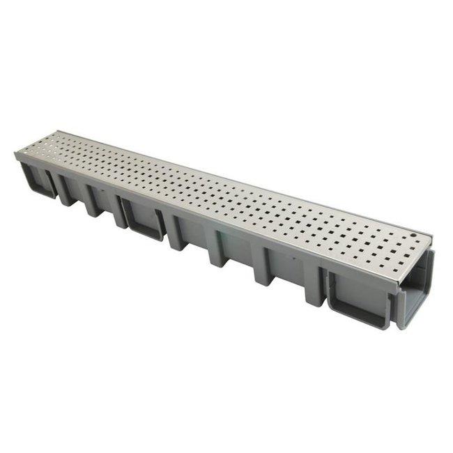 Nicoll lijngoot Connecto 100 + RVS gatenrooster A15, 100 x 11.5 cm