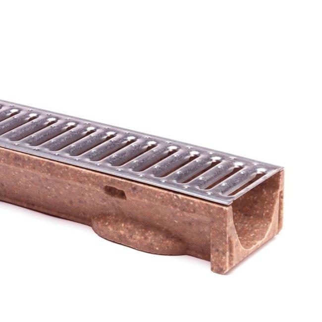 Anrin lijngoot, polyesterbeton SELF-ECO 100 cm, gegalvaniseerd sleufrooster