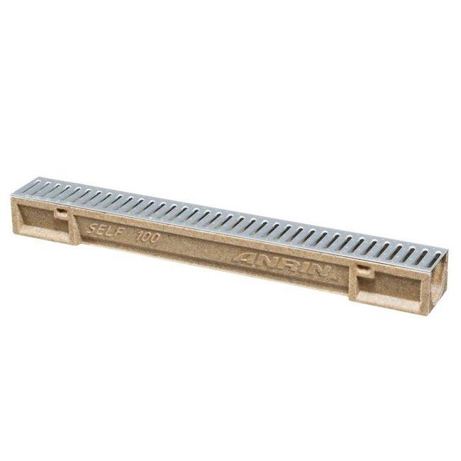 Anrin lijngoot, polyesterbeton SELF-100, 100 cm, gegalvaniseerd sleufrooster