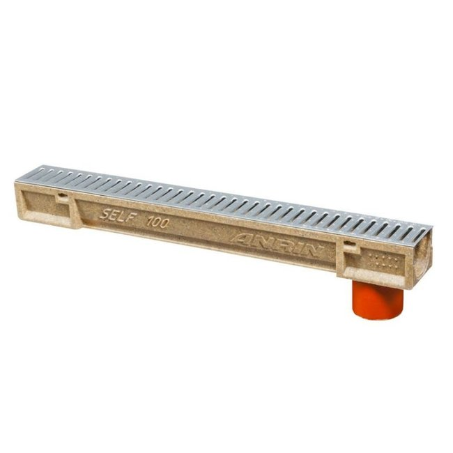 Anrin lijngoot, polyesterbeton SELF-100, 100 cm, RVS rooster met uitloop
