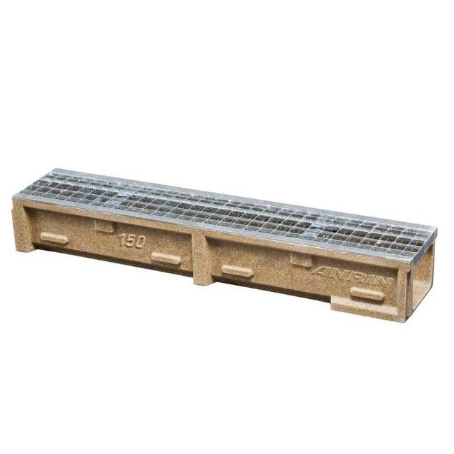Anrin lijngoot, polyesterbeton SELF-150 100 cm, gegalvaniseerd maasrooster