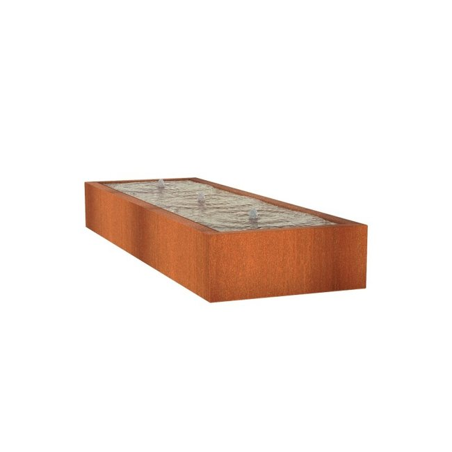 Watertafel cortenstaal 300 x 100 x 40 cm