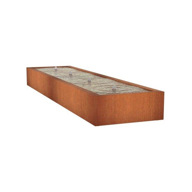 Watertafel cortenstaal 400 x 100 x 40 cm